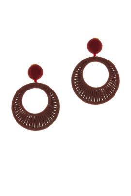 Leather Hoop Earrings by Oscar de la Renta