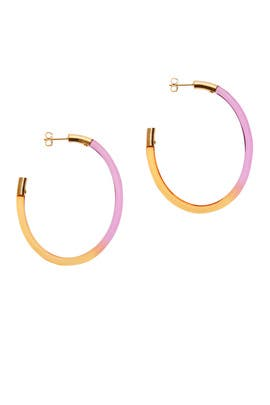 Gemology Oval Colorblock Hoops by Colette Malouf