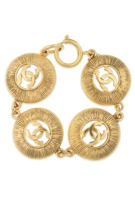 a6c4af8153b0 Vintage Chanel Antiqued CC Bracelet by WGACA Vintage for $100   Rent ...