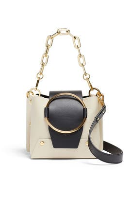 Cream and Black Delila Mini Bucket Bag by Yuzefi
