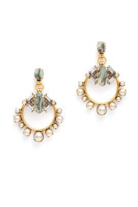 Grey Pearl Hoop Earrings by Elizabeth Cole