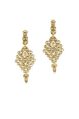 Teardrop Framed Crystal Earrings by Oscar de la Renta