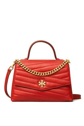 Red Kira Chevron Top Handle Satchel by Tory Burch Accessories