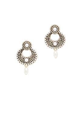 Pearl Circle Drop Earrings by Slate & Willow Accessories