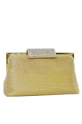 Gold Crystal Clasp Clutch by Whiting & Davis