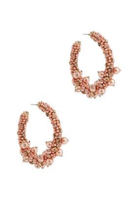 Beaded and Pearl Hoop Earrings by Oscar de la Renta