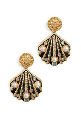 Multi Stones Shell Earrings by Kenneth Jay Lane