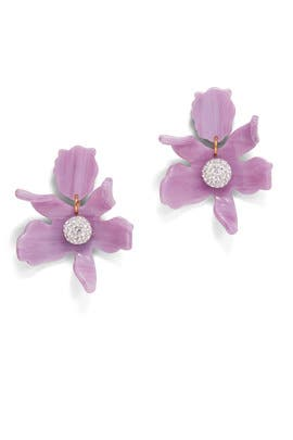 Lilac Crystal Lily Earrings by Lele Sadoughi