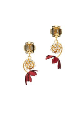 Red Floral Horn Earrings by Marni Accessories
