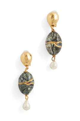 Green Magnesite Kintsugi Earrings by Oscar de la Renta