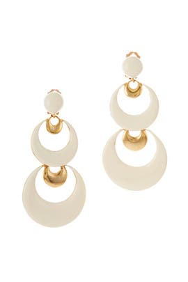 Large Moon Drop Earrings by Oscar de la Renta