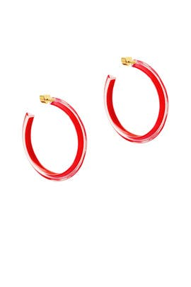 Red Medium Jelly Hoops by Alison Lou