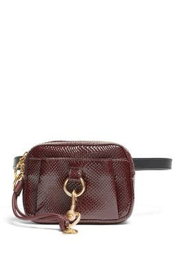 Burgundy Python Embossed Belt Bag by See by Chloe Accessories