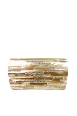Gold Striped Resin Minaudiere by Sondra Roberts