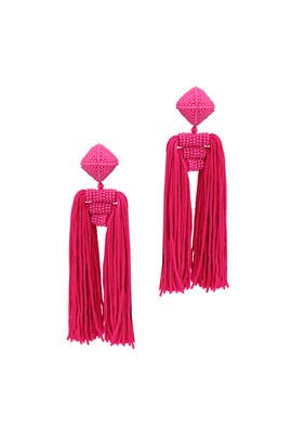 Fuchsia Tassel Dupio Earrings by Sachin & Babi Accessories