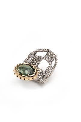 Pave Checkerboard Georgian Stone Ring by Alexis Bittar