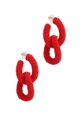 Poppy Beaded Link Earrings by Oscar de la Renta