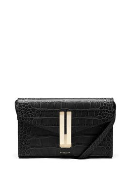 Black Croc Quebec Crossbody by DeMellier London