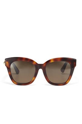 Brown Square Sunglasses by Gucci