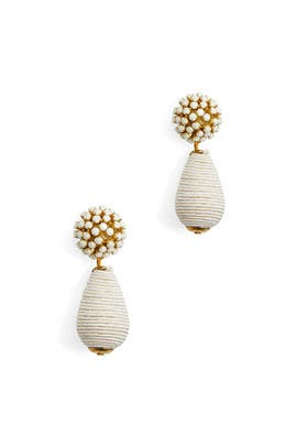 Bead Top And Woven Botom Earrings by Area Stars