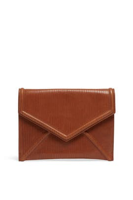 Cognac Leather Envelope Clutch by Sondra Roberts