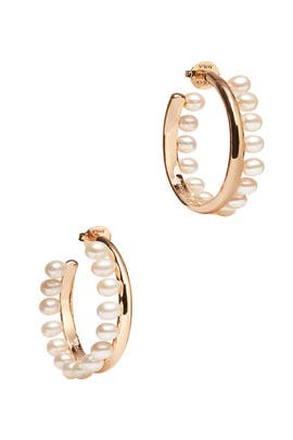 Pearl Fringe Hoops by Tory Burch Accessories