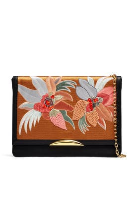 Gold Tahitian Floral Port of Call Clutch by Lizzie Fortunato