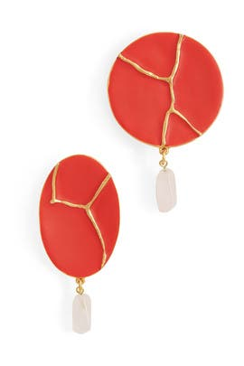 Poppy Kintsugi Disk Earrings by Oscar de la Renta