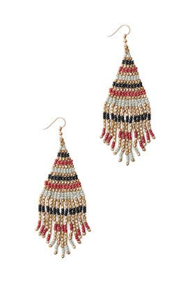 Red Fringe Bead Earrings by Area Stars