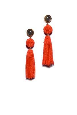 Red Havana Tassel Earrings by Lizzie Fortunato
