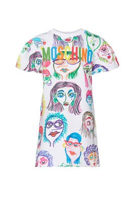 Kids Mini Me Faces Dress by Moschino Kids