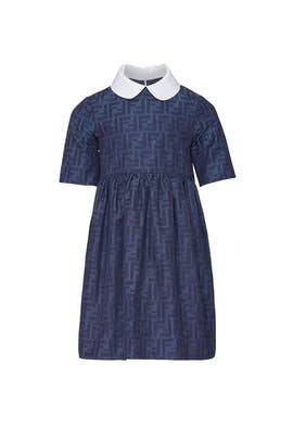 Kids Stitch Blue Dress by Fendi Kids