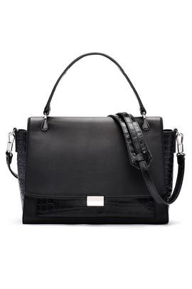 Black Charlie Satchel by Elizabeth and James Accessories