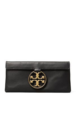 Black Miller Metal Clutch by Tory Burch Accessories