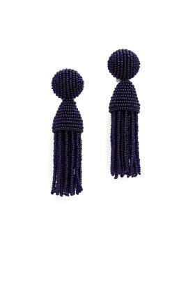 Midnight Short Tassel Earrings by Oscar de la Renta