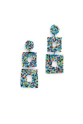 Multi Double Square Earrings by Kenneth Jay Lane
