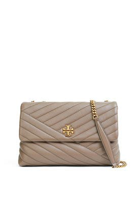 Taupe Chevron Convertible Shoulder Bag by Tory Burch Accessories