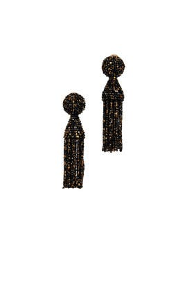 Golden Black Short Tassel Earrings by Oscar de la Renta