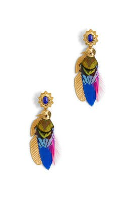 Bo Sao 2 Plumes Earrings by Gas Bijoux