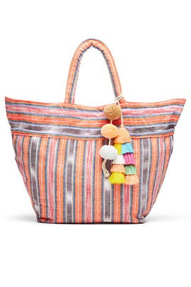 Coral Samui Stripe Tote by JADEtribe