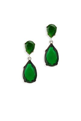 Emerald Drop Earrings By Kenneth Jay Lane