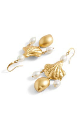 Shell And Pearl Drop Earrings by Tory Burch Accessories