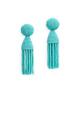 Aqua Short Tassel Earrings by Oscar de la Renta
