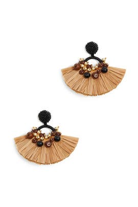 Beige Raffia Beaded Earrings by Oscar de la Renta