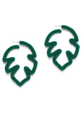 Green Beaded Palm Leaf Earrings by Sachin & Babi Accessories