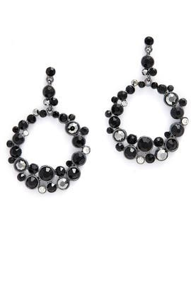 Black Crystal Round Drop Earrings by Slate & Willow Accessories