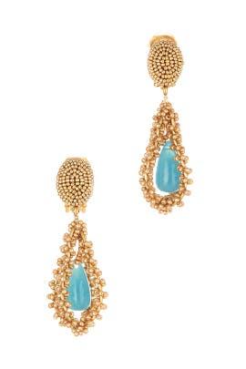 Gold Embroidered Drop Earrings by Oscar de la Renta