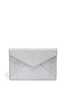 Silver Glitter Leo Clutch by Rebecca Minkoff Accessories