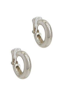 Silver Tube Hoop Earrings by Kenneth Jay Lane