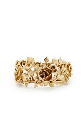 Rose and Leaf Gold Vine Bracelet by Oscar de la Renta